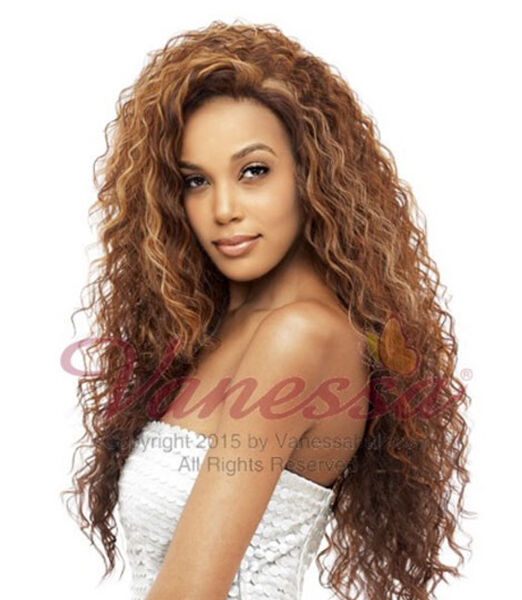VANESSA HONEY-4 BRAZILIAN HUMAN HAIR BLEND LACE FRONT WIG MOGANY side